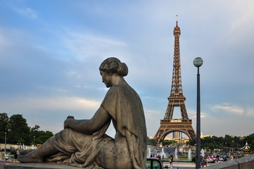 The Eiffel Tower from Trocadero, Paris, France