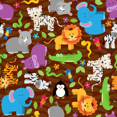 Seamless, Tileable Jungle Animal Background Pattern