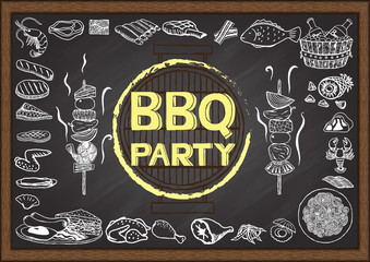 Hand drawn icons about Barbecue party on chalkboard.