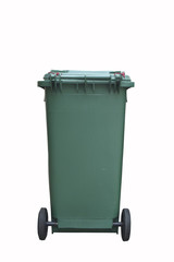 Green plastic garbage bin isolated on white background