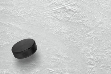 Hockey puck on ice
