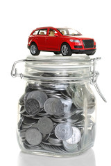 coins and sports red car isolated business and finance