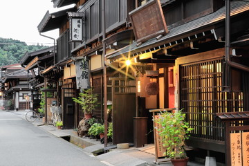 Street in the old area at twilight. Takayama-Japan. 0002