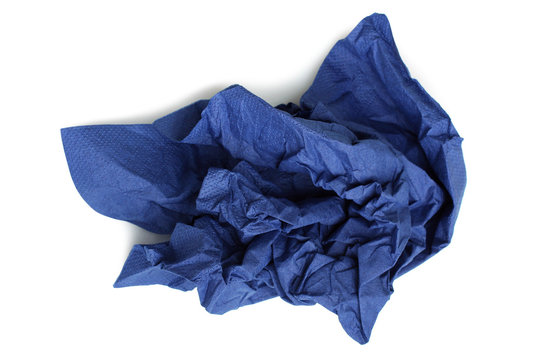 Crumpled blue napkin paper isolated