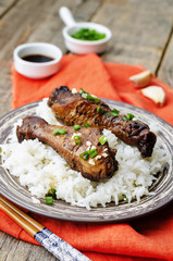 soy balsamic garlic chicken legs with rice