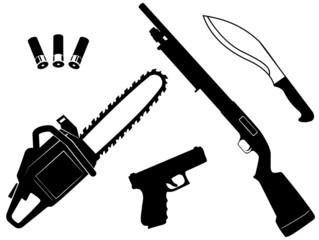 Set of gangster criminal weapons