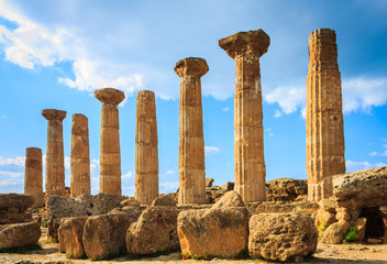 Greek temple in valley of temples in Sicily.