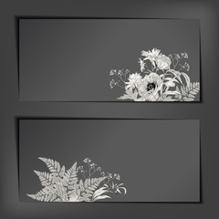 Vector Floral Sketch Banners