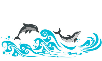 Dolphins jumping in sea waves