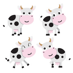 Illustration of four cows on a white background