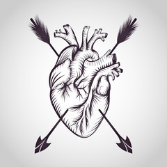 Heart tattoo logo vector