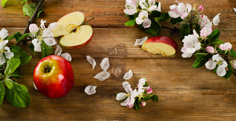 blooming apple twigs and red apples on a  old wooden table.