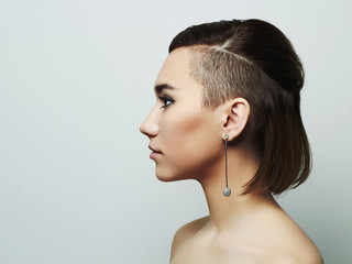 beautiful young woman with short haircut