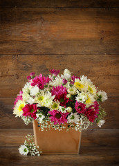 summer bouquet of pink and white flowers