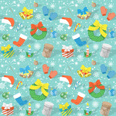 Flat colorful seamless holiday pattern with Christmas Icons