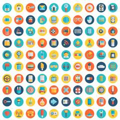 Set of 100 vector social media icons. Flat design