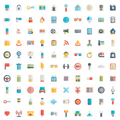 Set of 100 vector social media icons. Flat design