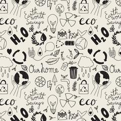 Hand drawn seamleass eco friendly pattern.