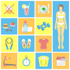 Flat icons for female fitness