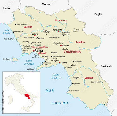 campania map with outline map italy\