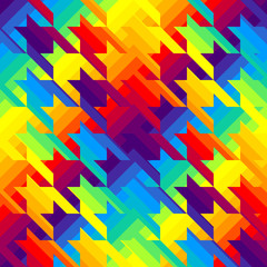 Houndstooths pattern in rainbow colors.