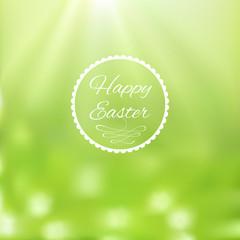 Elegant Easter card on blurred background.