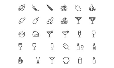 Food and drinks Line Icons 16