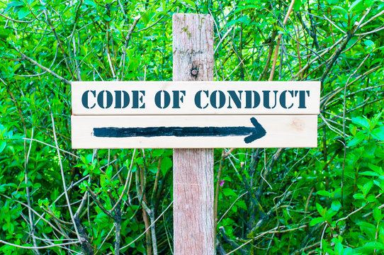 CODE OF CONDUCT Directional sign