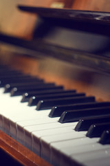 Keyboard of piano.