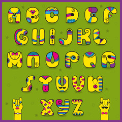 Dandy Alphabet. Funny yellow pink letters
