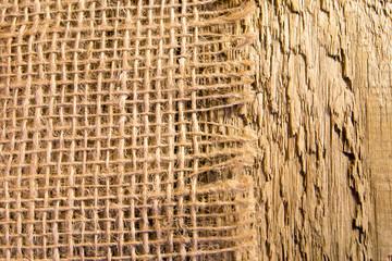 Burlap napkin on rustic wooden table