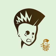 Vector silhouette of a male punk rock singer with logo