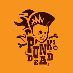 Vector silhouette logo of a male punk rock singer