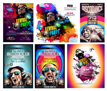 Club Disco Flyer Set with DJ shape and Colorful backgrounds