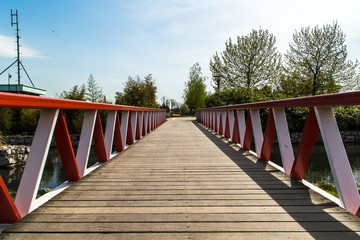 Wooden Bridge on River