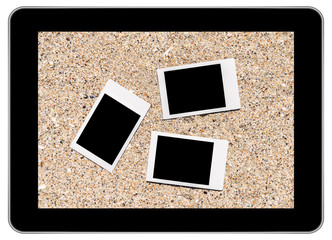 Blank Instant Photos On Beach Sand In Summer On Modern Tablet