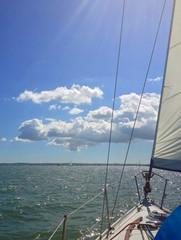 Sailing blue sky clouds