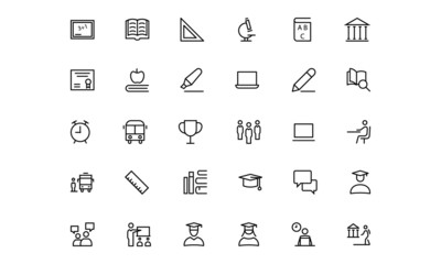 School and Education Line Vector Icons 1