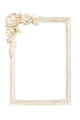 White picture frame with rose decor, clipping path included.