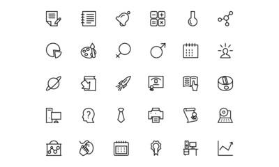 School and Education Line Vector Icons 6