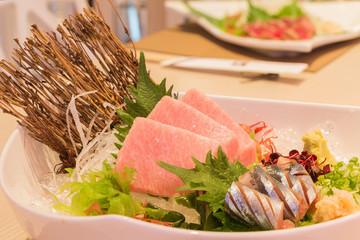 Otoro sashimi (Maguro) and shin samma sashimi, Japanese style fo