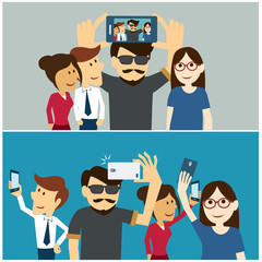 taking a selfie photo flat design