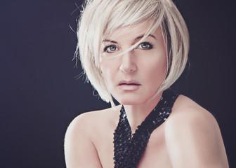 beautiful blond lady in evening dress - white light 04