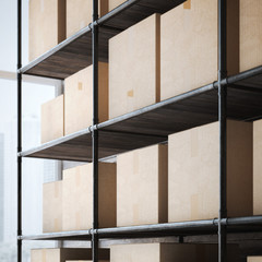 Shelves with cardboard boxes. 3d rendering