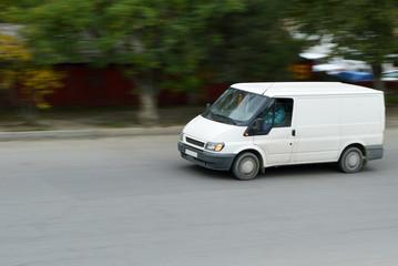 White van in motion