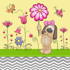 Cute Dog with a Flower