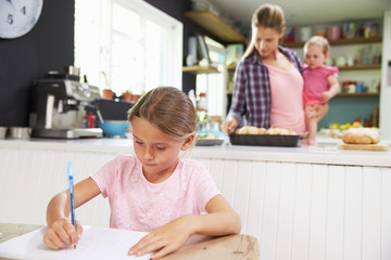 Girl Drawing Picture As Mother Prepares Meal In Kitchen
