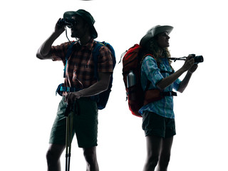 couple trekker trekking nature silhouette Photographing