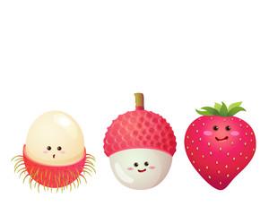 cute fruits characters set 3