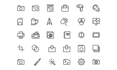 Photography Line Vector Icons 1